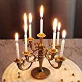 Plastic Candelabra Cute Cake Topper Bronze-Coloured Candle Holder with 9 White Birthday Candles