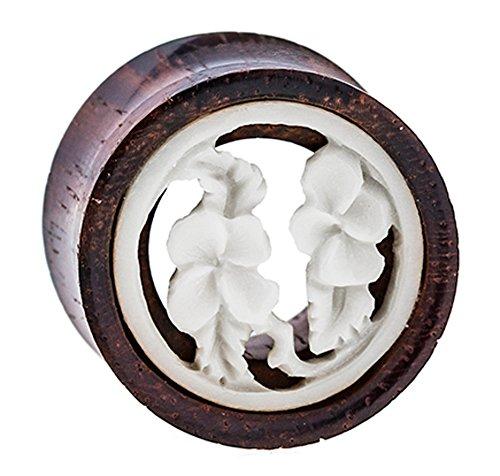Chic-Net Madera Plug Flores túnel de Madera de tamarindo Hueso embutido Blanco Expander Tribal Tapones para los oídos