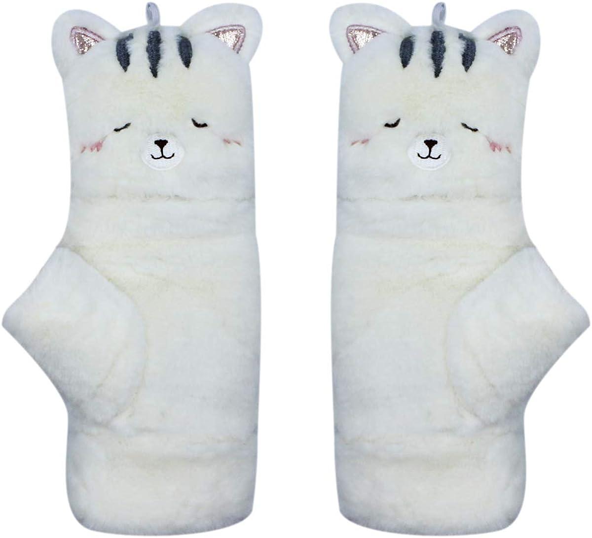Women Girls Soft Faux Fur Convertible Flip Top Gloves Cute Cat Rabbit Fleece Lined Thermal Mittens