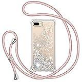 Funda Glitter Liquida con Cuerda para iPhone 7 Plus/ iPhone 8 Plus, Glitter Cristal Suave Silicona TPU Bumper Protector Carcasa, Brillante Arena Movediza con Colgante Ajustable Cordón Case -Oro Rosa