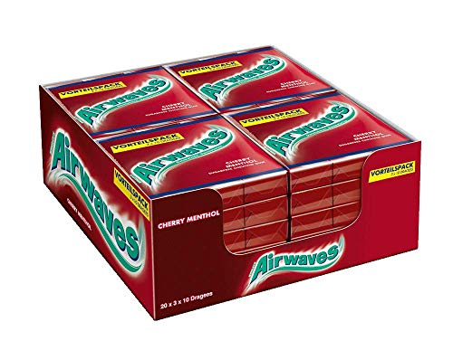 Airwaves Kaugummi | Cherry Menthol | Rot, zuckerfrei | 20 x 3 Packungen (20 x 3 x 10 Dragees)