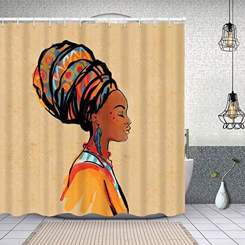 MAYUES Cortina de Ducha Impermeable Pendiente y Bufanda de Plumas exóticas para Mujer Obra Hippie zulú Cortinas baño con Ganchos Lavable a Máquina 62x72 Inch