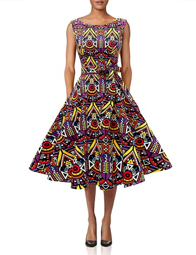Hanpceirs Women's Boatneck Sleeveless Swing Vintage 1950s Cocktail Dress African XL