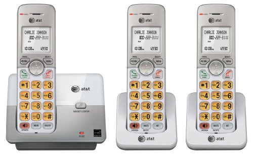 AT&T DECT 6.0 3 Cordless Phones with Caller ID, Handset Speakerphones, White and Grey