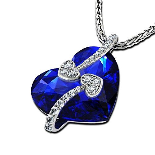 DEPHINI - collares mujer - collar niña con colgante corazon con pequeñas circonita y plata de ley...