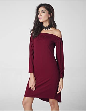 ASFDFC GDS Ladies ' fashion sexy neck off the shoulder long sleeve dress