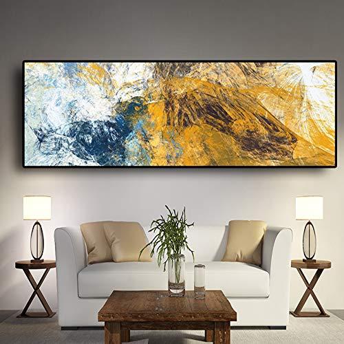 QWESFX Abstrakte Geometrie Blau und Gold Leinwand Malerei Handgemalte Ölgemälde auf Leinwand Wolf Gemälde auf Leinwand Kunstdrucke Große Leinwand A2 40x80CM