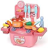 BaoYPP Little Chef' Cocina de Juguete Set Jugar delicias de la Cocina, niños Cocina Playset, Cocina de Juguete con Luces realistas Juego de rol (Color : Pink, Size : 30x13x28cm)