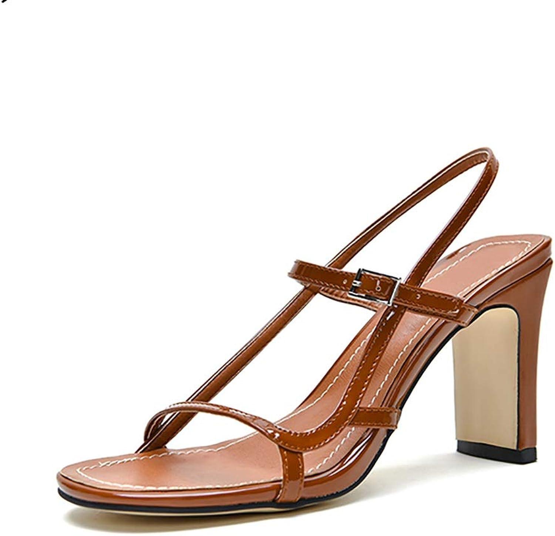 Women's Vintage Sandals, Buckle Patent Leather Brown Roman Heels 8.5cm (color   Brown, Size   35)