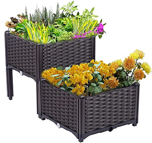 Plant Growing Box,Modern Rattan-Style Plastic Raised Garden Bed, Set Of 2 Planter Box Kit, For Flower Vegetable Grow Indoor Outdoor