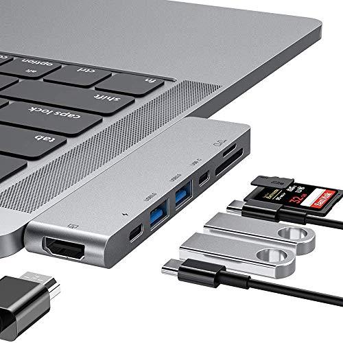USB C Hub, 7 en 1 Adaptador de concentrador tipo C, USB C HDMI, 2 puertos USB 3.0, lector de tarjetas TF/SD, USB C Power Delivery, el mejor adaptador de doble hub Mac Type C para MacBook (Silver)