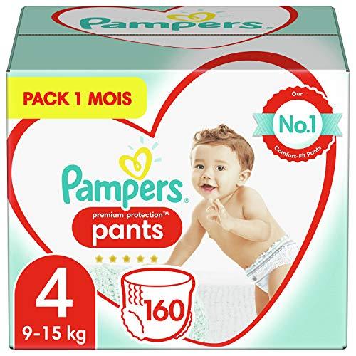 Pampers Couches-Culottes Premium Protection Pants Taille 4 (9-15kg) notre N°1 pour la protection des peaux sensibles, Faciles à Changer, 160 Couches-Culottes (Pack 1 Mois)