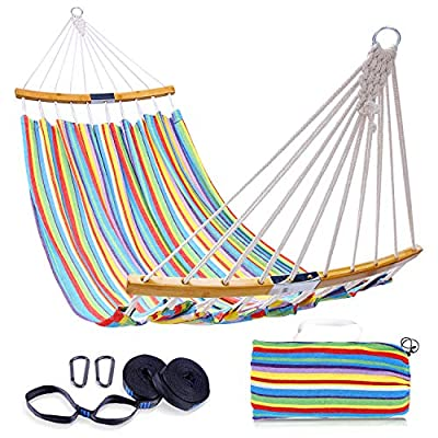 Double Hammock Swing with Tree Straps, Ohuhu Folding Curved-Bar Design 2020 Upgraded Space-Saving Bamboo Hammock with Carrying Bag, Portable Hammock for Patio, Backyard, Camping, Beach,Colorful Stripe