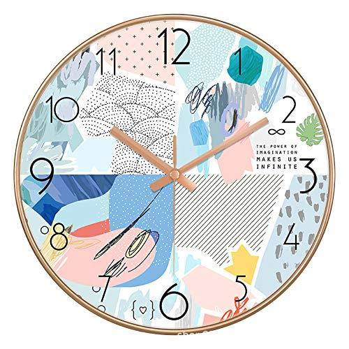 ZZLHHD RelojplásticosilenciosomarcograndeRelojdeparedsilenciosomodernoysimple-A022doradogrisblancoRelojdeparedsilencioso