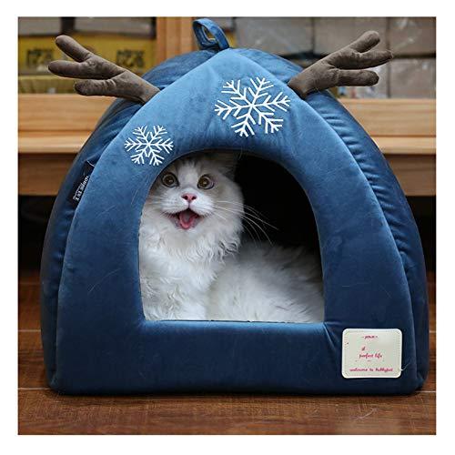 DMF Products Alces Invierno Mascota Algodón Nido Waterloo, Gato Pequeño Y Mediano Tamaño De Algodón Copa De Algodón Nido Navidad Gato Casa Gato Casa Gato Tienda De Gato (Size : 40×40×35cm)