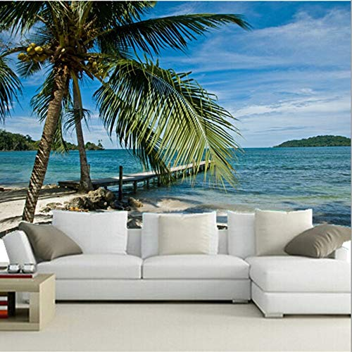Benutzerdefinierte 3D große Wandbilder, Sea Tropics Sky Beach Palma Natur Tapeten, Wohnzimmer Sofa TV Wand Schlafzimmer Tapeten-300 * 250cm