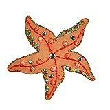 Altotux Orange Sea Starfish Rhinestone Self Adhesive Iron On Applique Patch