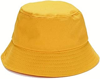 Hat Men and Women Double-Sided Outside Fold Sunshade Tide Basin Cap Fisherman (Color : Yellow, Size : Adjustable)