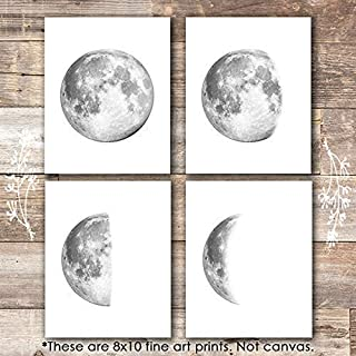 Moon Phases Wall Art Prints (Set of 4) - Unframed - 8x10s