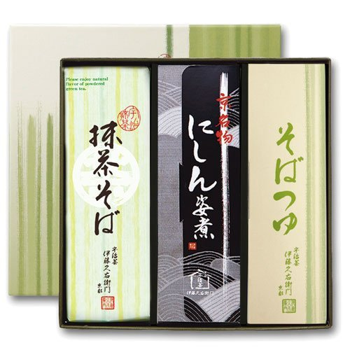伊藤久右衛門 宇治抹茶にしんそば ギフト 乾麺 蕎麦2人前×3袋 そばつゆ6袋 ニシン3本 箱入り N-3