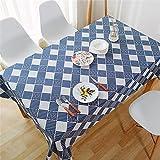 Azul Plaid Impresión Hogar Cocina Antiincrustante Polvo Rectangular Mantel Mantel Mesa De Centro Mantel Mesa De Ordenador Mesa Cuadrada Sala De Estar Decoración Café Fiesta 140x250cm