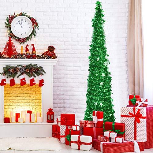 BUZIFU Árbol de Navidad artificial de 150 cm, plegable, con lentejuelas, árbol de Navidad plegable, árbol de Navidad verde para Navidad, suministros de fiesta, decoración del hogar
