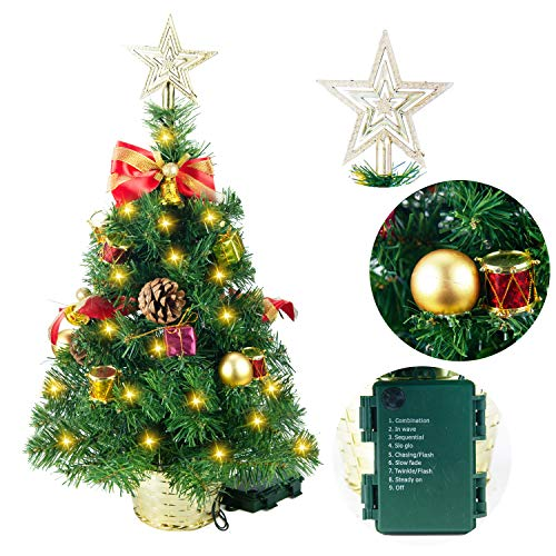 """Joiedomi 23"""" Deluxe Prelit Tabletop Christmas Tree with Tree Topper for Best Home & Office Holiday Season Decoration"""