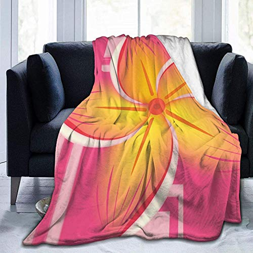 Manta de Tiro Clip Art de Flores Hawaianas Ultra Suave Manta de Micro Polar Tiro Súper Suave y acogedora Manta de Cama para Cama Sofá Sofá Sala de EST