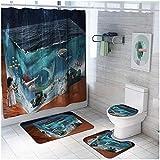 TYOP Alfombra de baño Kit, Cortina Sirena Impreso a Prueba de Agua de Ducha, WC Alfombra Estera del Piso de Cuatro Piezas de combinación, baño Mat Set (Color : C)