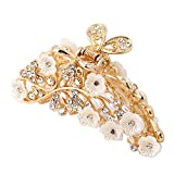 ShungFun Women Elegant Jaw Clips Fashion Hollow Carving Flower Pattern Hair Claw Clips w/ Rhinestones for Women Girls Hair Styling Accessories (Leaf-gold)