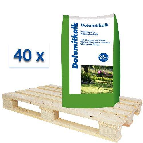 Hamann Mercatus GmbH 40x25 kg Dolomitkalk Magnesiumkalk Calcium und Magnesium in einem Dünger - Palette 25kg =250m²