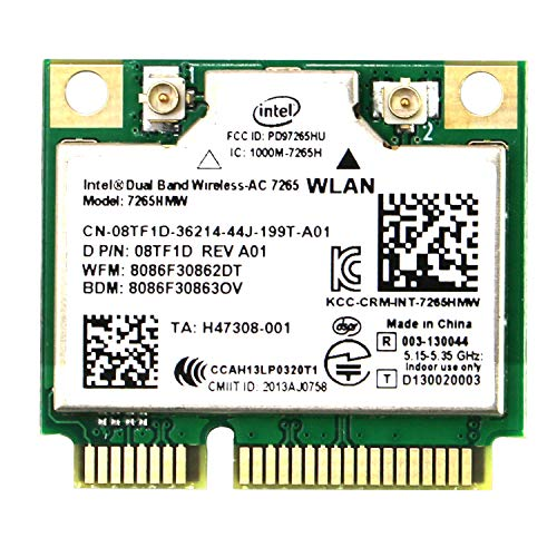 Wireless Network Adapter for Laptop and Desktop PCs–Mini PCIE Wi-Fi Card-802.11AC 2x2 MIMO-2.4GHz 300Mbps or 5GHz 867Mbps Bluetooth 4.0-Dual Band Bluetooth Wi-Fi Adapter Intel Wireless-AC 7265