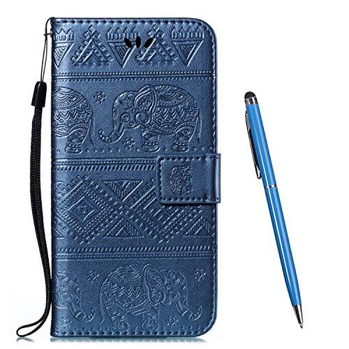 TOUCASA Kompatibel mit Motorola Moto E4 Plus Hülle,Brieftasche PU Leder Flip [Ständer Kartenfach][Elefant Prägung] Hülle Handytasche Klapphülle Kratzfestes Schutz Lederhülle (Blau)
