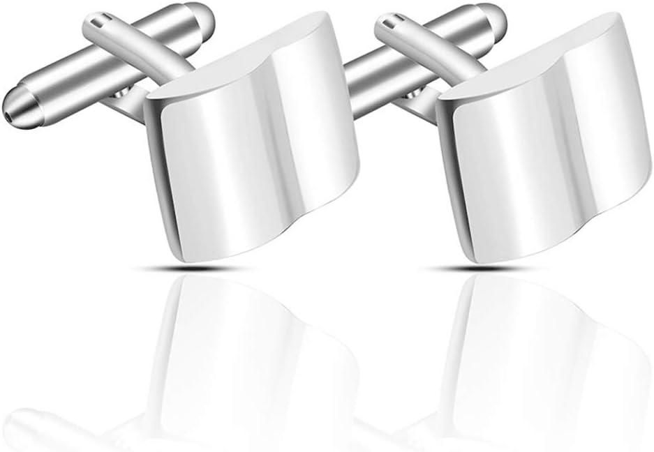 ZZABC Metal Cufflinks Simple Geometric Square Men's Business Shirt Cufflinks Wedding Party Men and Women Gifts