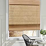 LANTIME Wood Window Roman Shades, Lined Blackout BambooRoman Shades Blinds, Easy Installation for Home and Garden,...