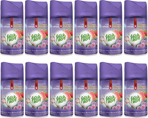 12x Fresh&More Nachfüller Himbeere-Blumen & Süßigkeiten Für Duftspender, 250ml