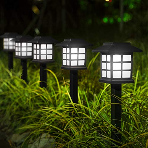 YUNLIGHTS Upgraded Solar Stake Lights 8PCS, Garden Solar Lights Outdoor Pathway Lights Waterproof, 15'x3.35' Solar Landscape Lights for Garden Path, Walkway, Lawn (White)