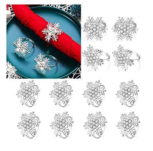 Angels' Schneeflocke Serviettenringe von 12 Stück, Silber Serviettenringe für Dinner Party Urlaub Hochzeit Thanksgiving Weihnachten Neujahr