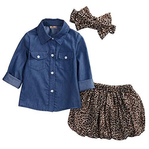 Loalirando Completi Bambina 3 Pezzi Camicia Jeans Bimba + Gonna Leopardata Bmbina + Fascia Capelli...