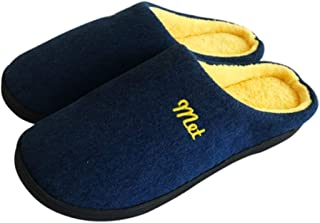 Women's Men's Cotton Slipper Indoor House Comfort Slip On Memory Foam French Terry Outdoor Anti-Skid Rubber Sole Shoes