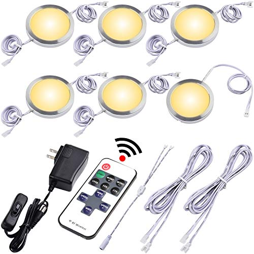 Lvyinyin Under Cabinet Puck Lights, Wireless RF Dimmable LED Controller, 120V Wall Plug Power Adapter, 6 Lights, Warm White, White Cords, for Kitchen Counter Closet Wardrobe Lighting