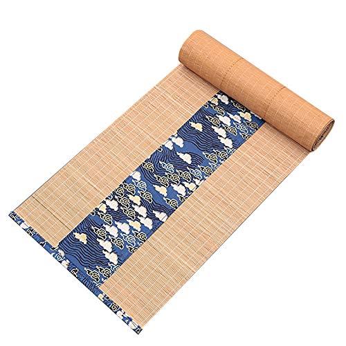 LiQi Corredor de Mesa Camino de Mesa de Bambú Retro Estilo Granja, Tela de Mesas Oblongas Resistente Al Calor Impermeable, para Comedor Hogar Salón de Té (Color : Dark Blue, Size : 30×90cm/12 ×35in)