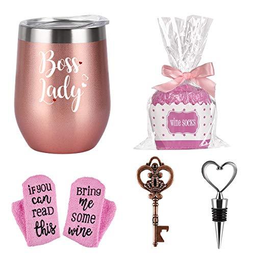 Boss Lady Wine Tumbler Cupcake Wine Socks Set, Bosses Day Christmas Gifts for Women Boss Female Friends Mom, 12 Oz Insulated Stainless Steel WineTumbler with Lid, Socks, Opener, Stopper, Rose Gold