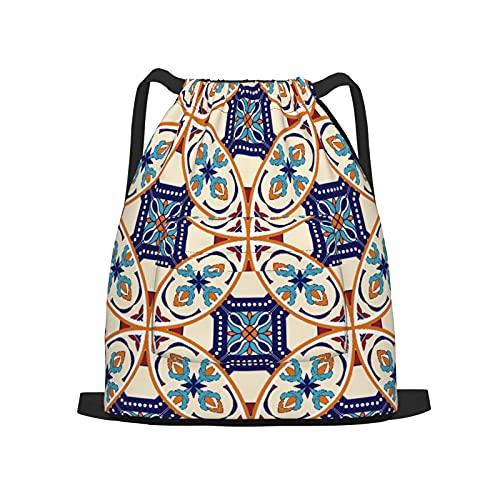 USOPHIA Mochila con cordón,Círculo azul hermoso patrón y azulejos portug, Gym Sackpack para Hombres Mujeres Niños Yoga Travel Camping String Bag.