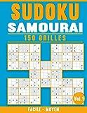 Sudoku Samouraï 150 Grilles: 2 Niveaux - Facile et Moyen - pour Adultes avec Solutions (Vol. 1)