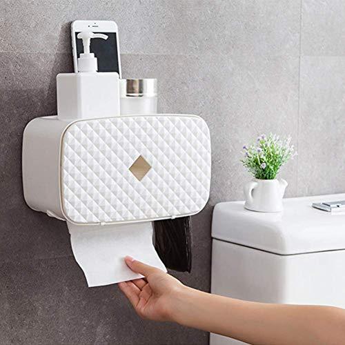 TODOS DE ALMACENAMIENTO DE TEJIDO TITULAR DE PAPEL DE PAPEL TOTAL DE PERTURA A prueba de agua Tenedor de papel higiénico Portátil de plástico Montaje de pared Baño Organizador Caja de almacenamiento Z