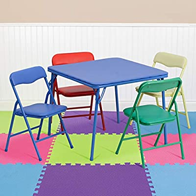 Flash Furniture Kids Colorful 5 Piece Folding Table and Chair Set from Flash Furniture