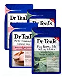 Dr Teal's Epsom Salt Bath Combo 4-Pack (12 lbs Total), Sativa Hemp Seed Oil, and Restore & Replenish with Pink Himalayan