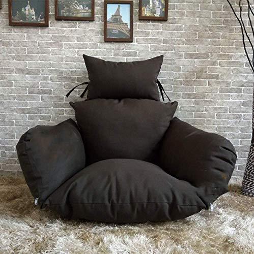 ZXL Ei stoel stoel kussen, schommelstoel kussen, dikke Nest enkele mand opknoping Ei hangstoel kussens verwijderbaar en wasbaar bruin