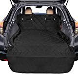 Pet Cargo Cover Liner for SUV, Packism Waterproof Dog Cargo Liner Cover with 2 Pockets Non-slip Dog Seat Cover for SUVs Sedan Vans Universal Fit, Large SUV Cargo Liner for Dogs with Bumper Flap, Black